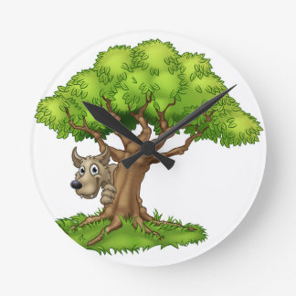 Cartoon Fairytale Big Bad Wolf and Tree Round Clock