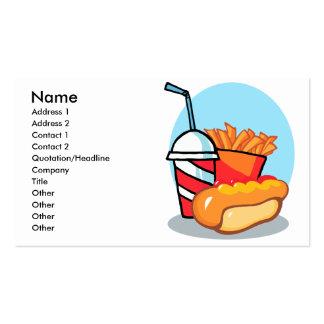 cartoon fast food meal business card