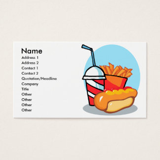 cartoon fast food meal business card