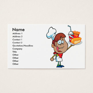 cartoon fast food waiter character business card