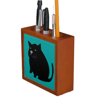 Cartoon Fat Black Cat Smiling Desk Organizer