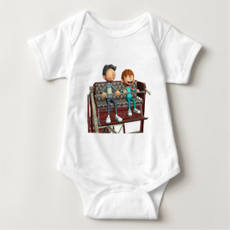 Cartoon Father and Son on a Ferris Wheel Baby Bodysuit