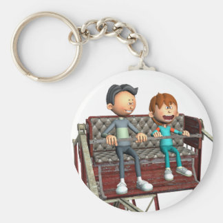 Cartoon Father and Son on a Ferris Wheel Basic Round Button Keychain