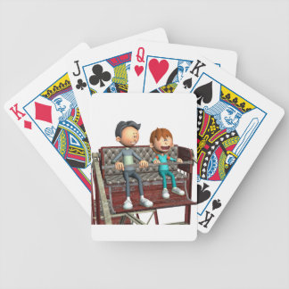 Cartoon Father and Son on a Ferris Wheel Bicycle Playing Cards