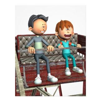 Cartoon Father and Son on a Ferris Wheel Custom Letterhead