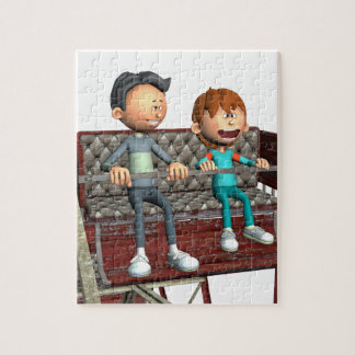 Cartoon Father and Son on a Ferris Wheel Jigsaw Puzzle