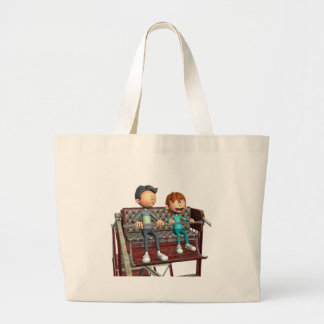 Cartoon Father and Son on a Ferris Wheel Large Tote Bag