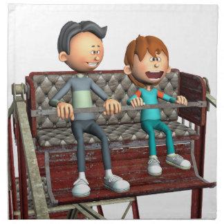 Cartoon Father and Son on a Ferris Wheel Napkin