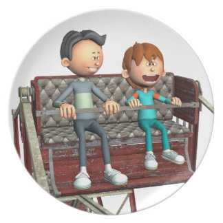 Cartoon Father and Son on a Ferris Wheel Plate