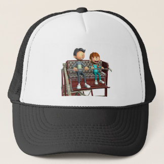 Cartoon Father and Son on a Ferris Wheel Trucker Hat