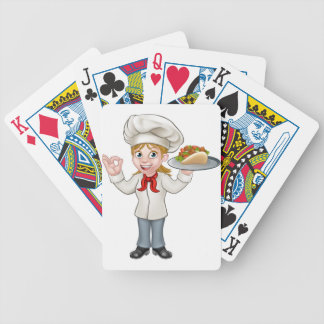 Cartoon Female Chef with Kebab Bicycle Playing Cards