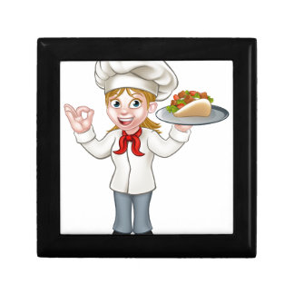 Cartoon Female Chef with Kebab Gift Box
