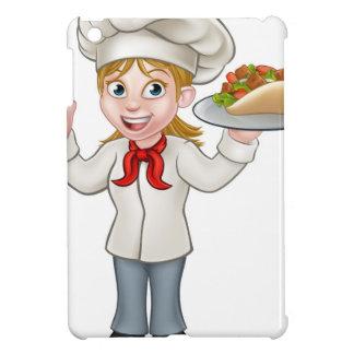 Cartoon Female Chef with Kebab iPad Mini Covers