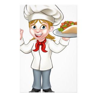 Cartoon Female Chef with Kebab Stationery