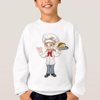 Cartoon Female Chef with Kebab Sweatshirt