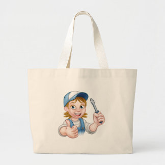 Cartoon Female Electrician Holding Screwdriver Large Tote Bag