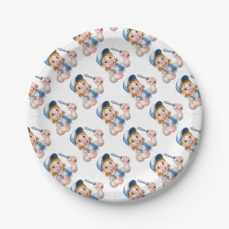 Cartoon Female Electrician Holding Screwdriver Paper Plate