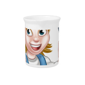 Cartoon Female Electrician Holding Screwdriver Pitcher