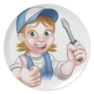 Cartoon Female Electrician Holding Screwdriver Plate