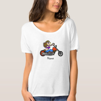 Cartoon Female Motorcycle Chick T-Shirt