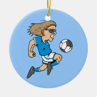 Cartoon Female Soccer  Star T-shirts and Gifts Round Ceramic Ornament