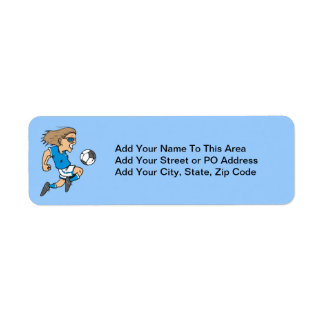 Cartoon Female Soccer  Star T-shirts and Gifts Return Address Label