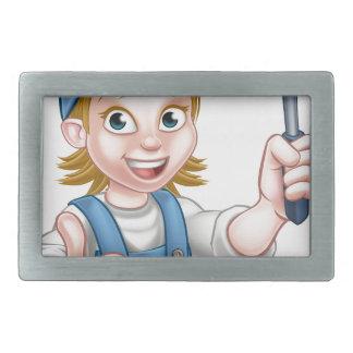 Cartoon Female Window Cleaner Character Belt Buckle