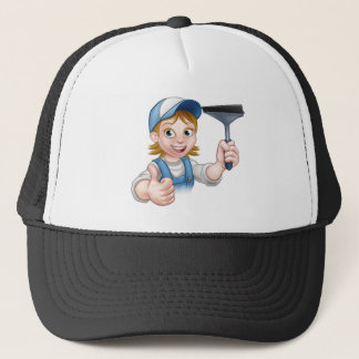Cartoon Female Window Cleaner Character Trucker Hat