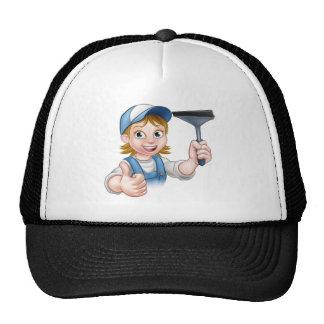 Cartoon Female Window Cleaner Character Trucker Hat