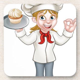 Cartoon Female Woman Baker or Pastry Chef Coaster