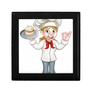 Cartoon Female Woman Baker or Pastry Chef Gift Box