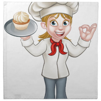 Cartoon Female Woman Baker or Pastry Chef Napkin
