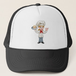 Cartoon Female Woman Baker or Pastry Chef Trucker Hat