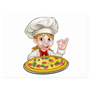 Cartoon Female Woman Pizza Chef Postcard