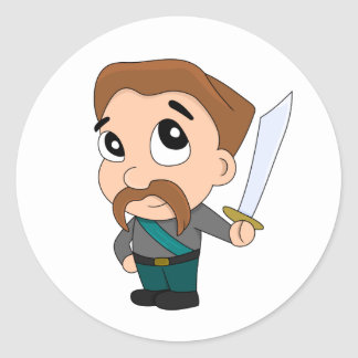 Cartoon fighter character classic round sticker