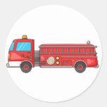 Cartoon Fire Truck/Engine Round Sticker