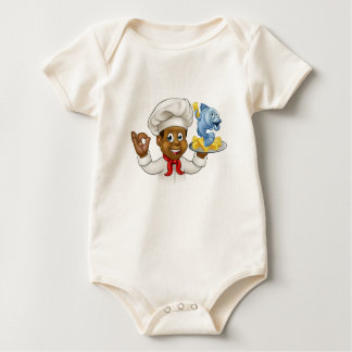 Cartoon Fish and Chips Chef Baby Bodysuit