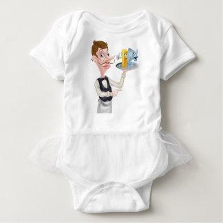 Cartoon Fish and Chips Waiter Baby Bodysuit