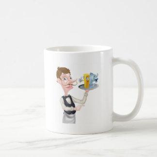 Cartoon Fish and Chips Waiter Coffee Mug