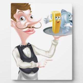 Cartoon Fish and Chips Waiter Plaque