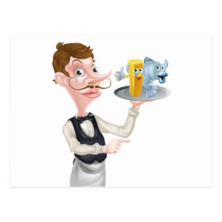 Cartoon Fish and Chips Waiter Postcard