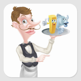 Cartoon Fish and Chips Waiter Square Sticker