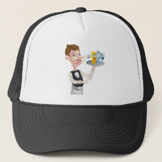 Cartoon Fish and Chips Waiter Trucker Hat