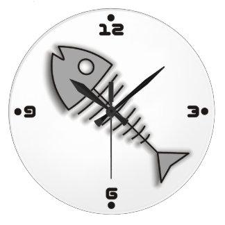 Cartoon Fish Bones Funny Wall Clock with Numbers