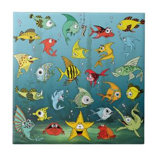 Cartoon Fish Underwater Tile