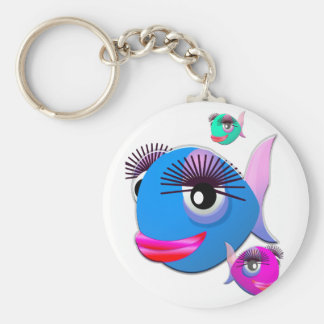 Cartoon Fish with BIg Lips and Eyelashes Keychain