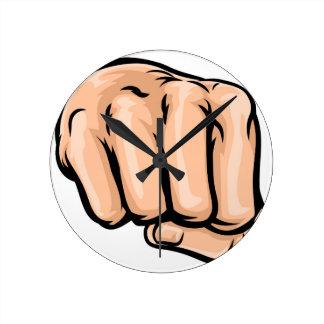 Cartoon Fist Round Clock
