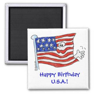 Cartoon Flag Waving Magnet