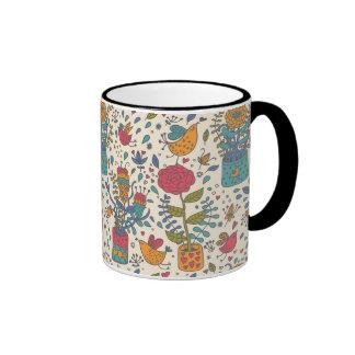 Cartoon floral pattern with birds 2 ringer coffee mug