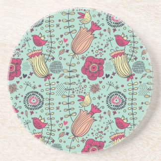 Cartoon floral pattern with birds drink coaster